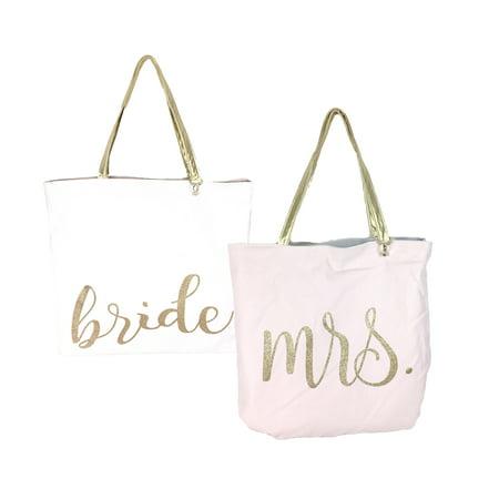 Bride to Mrs. Sparkling Script Reversible Tote, (Nebraska Cornhuskers Reversible Tote)