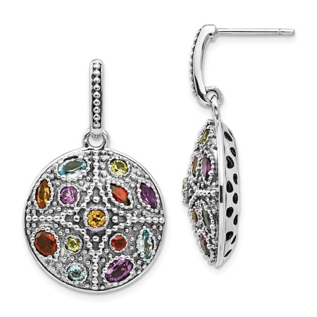 Multi Stone Dangle - Solid 925 Sterling Silver with 14k Antiqued-Style Multi Gemstone Post Dangle Earrings (20mm x 33mm)