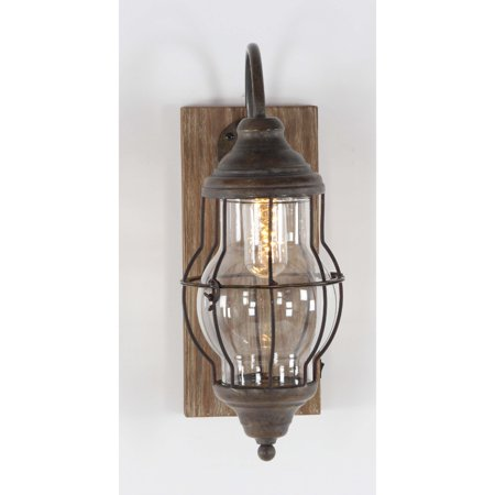 Unique Wood Metal Glass Led Wall Sconce - Walmart.com on Wood And Metal Wall Sconces id=53141