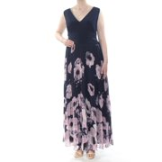 XSCAPE Womens Navy Gown Solid & Floral Print Sleeveless Maxi Evening Dress Plus  Size: 16W