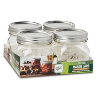 Ball, Glass Mason Jars with Lids and Bands, Wide Mouth, 16 oz, 4 Count