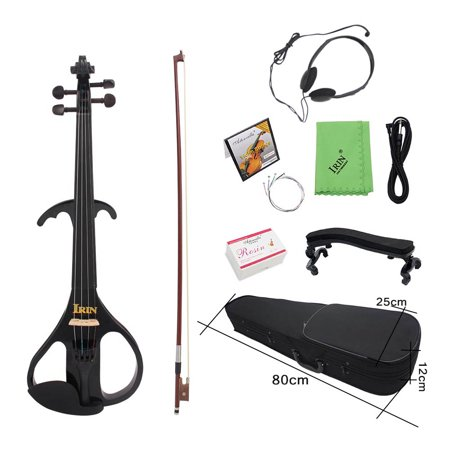 4/4 Full Size Electric Violin Fiddle Maple Wood Stringed Instrument Ebony Fretboard Chin Rest with 1/4