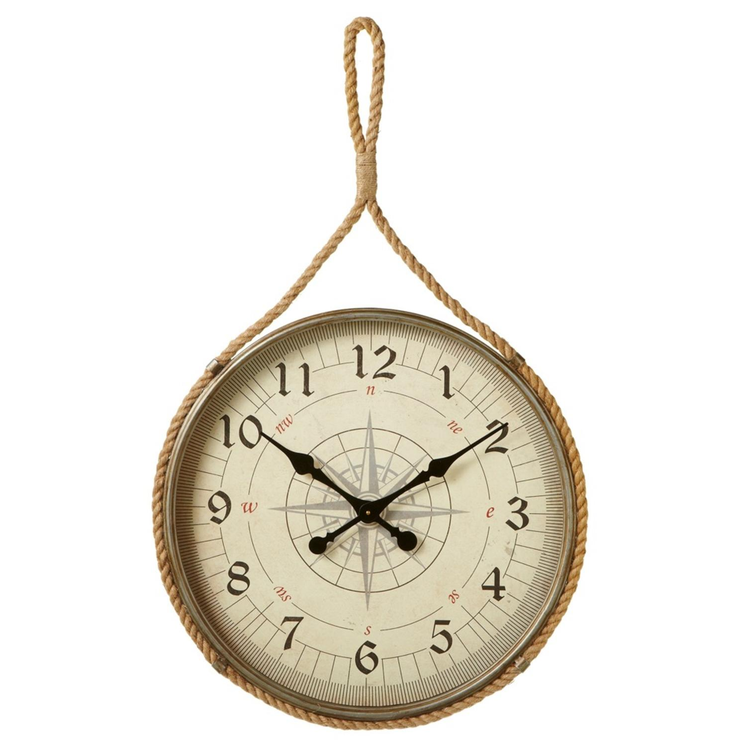 "41.75"" Tan and Black Decorative Compass Wall Clock with Rope Hanger"