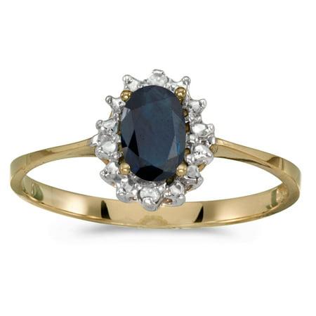 10k Yellow Gold Oval Sapphire And Diamond