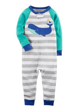 Carter's Little Boys'  1-Piece Whale Snug Fit Cotton Footless PJs, 4-Toddler
