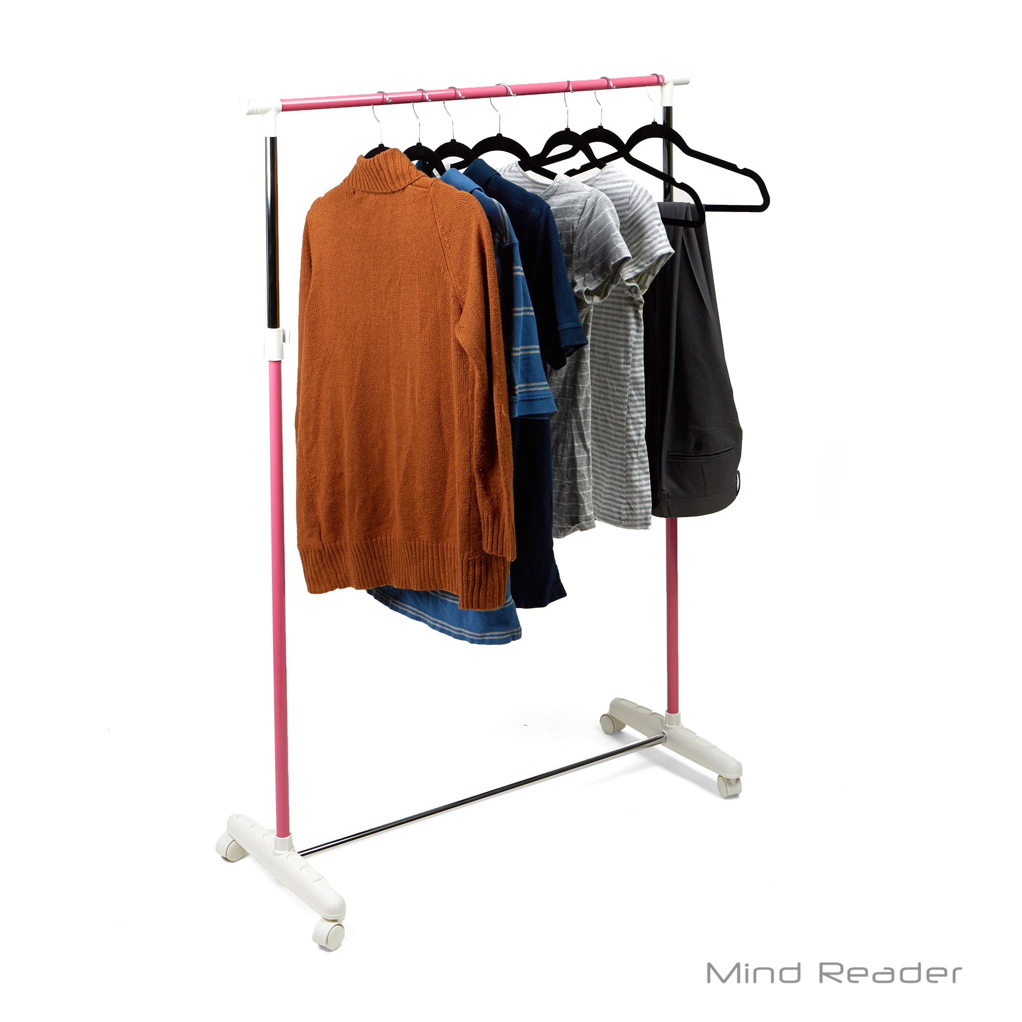 Mind Reader Metal Single Rolling Garment Rack, Pink