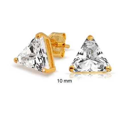 5CT Triangle Shaped Cubic Zirconia Basket Set Trillion Cut CZ Stud Earrings 14K Gold Plated 925 Sterling Silver ()