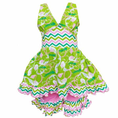 AnnLoren Girls Pink & Green Ocean Mermaids Hatler Top & Capri Outfit - Greek Girl Outfit