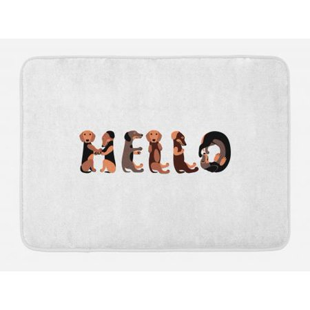 Dachshund Bath Mat, Dachshund Puppies Spelling the Word Hello Lovely Animal Font Design, Non-Slip Plush Mat Bathroom Kitchen Laundry Room Decor, 29.5 X 17.5 Inches, Brown Caramel Taupe, Ambesonne