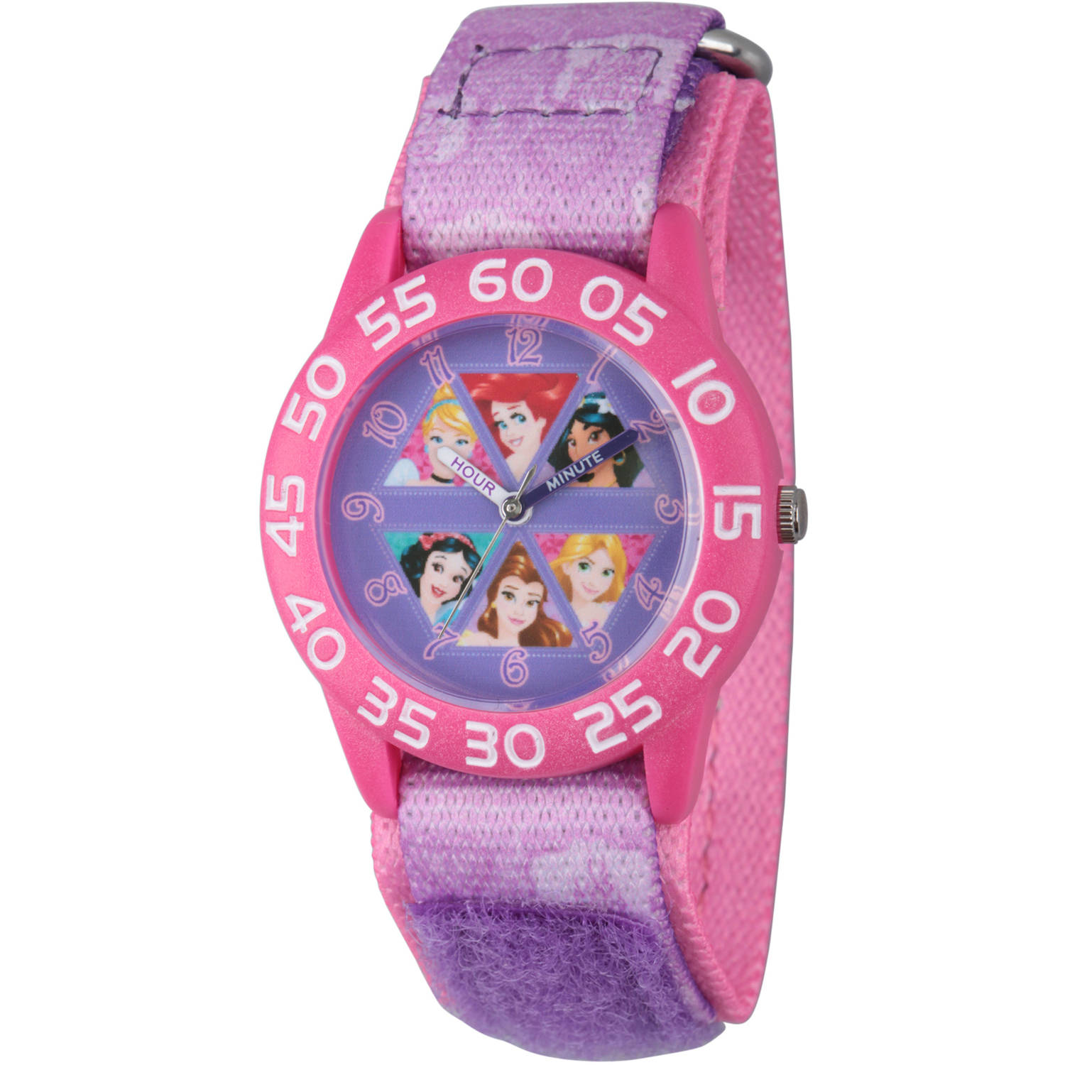 Disney Princess Cinderella, Rapunzel, Ariel, Jasmine, Snow White and Belle Girls' Pink Plastic Time Teacher Watch, Purple Hook and Loop Stretchy Nylon Strap with Pink Backing