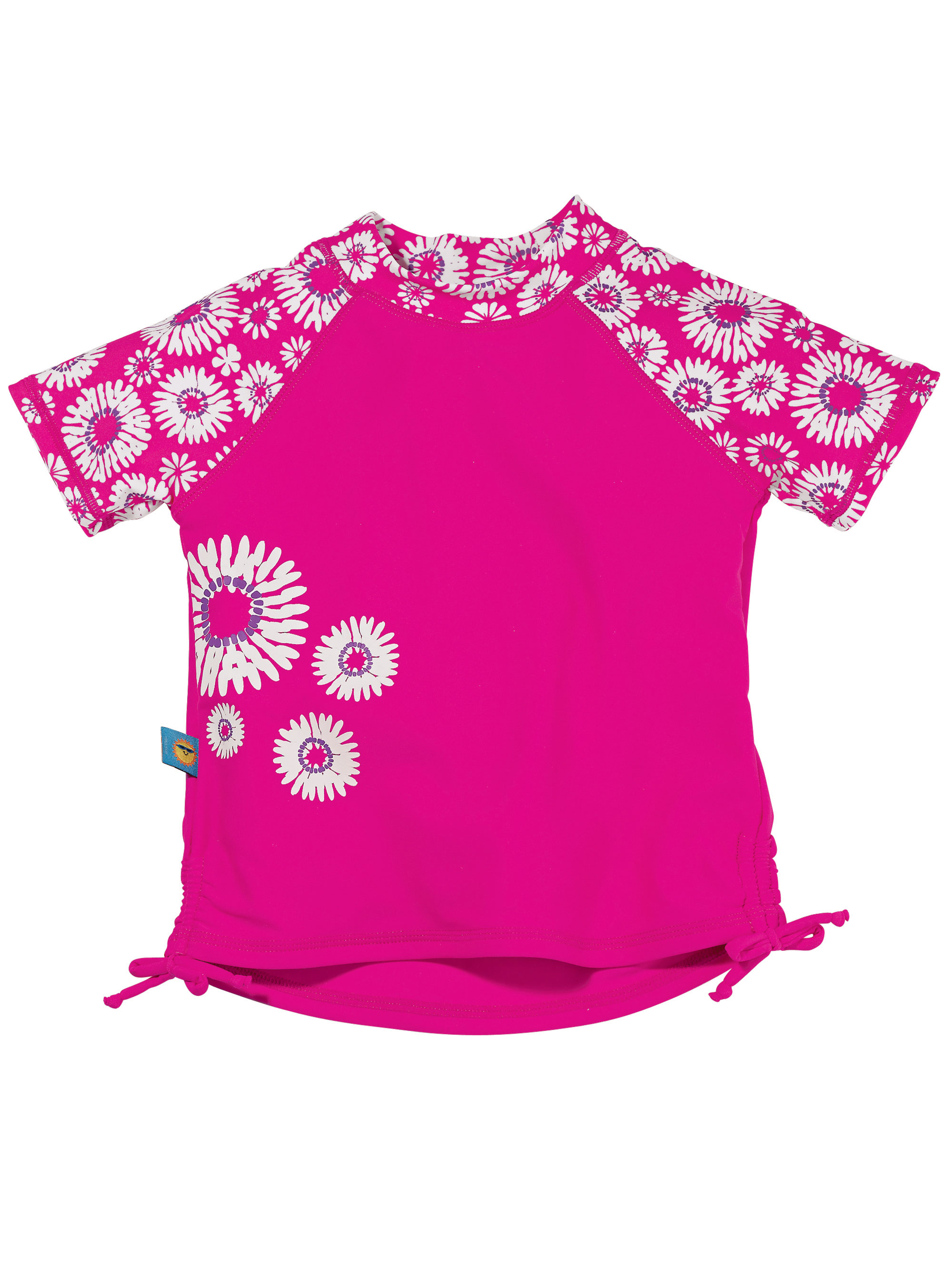 Sun Smarties Baby Girl Rashguard - Hot Pink Fuchsia Floral Design - UPF 50+ Short Sleeve Sun Protection