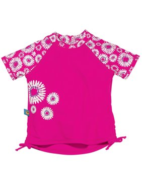Sun Smarties Baby Girl Rashguard - Hot Pink Fuchsia Floral Design - UPF 50+ Short Sleeve Sun Protection