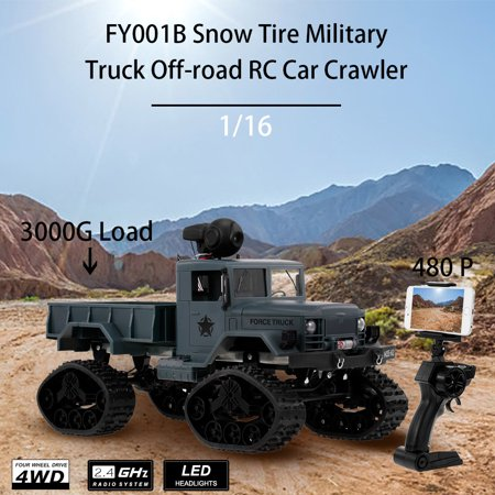Fayee FY001B 1/16 2.4GHz 4WD 480P Wifi FPV Camera 3000G Load Snow Tire Military Truck Off-road RC Car Crawler with LED Headlights for