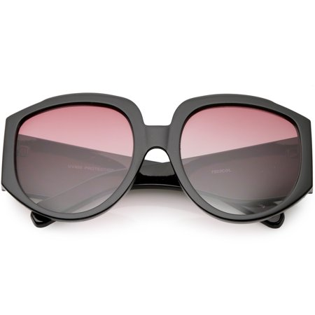 Designer Wide Arms Round Oversize Sunglasses Color Tinted Gradient Lens 57mm (Black / Red (Gradient Tint Sunglasses)