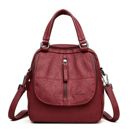 Women Leather Shoulder School Bag Travel Backpack (Leather Backpack Purse)