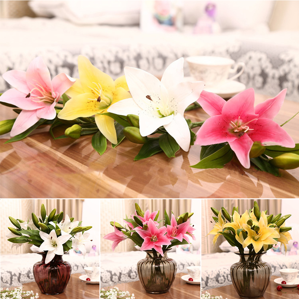 Moderna 1 Pc 3 Heads Sweet Artificial Flower Fake Lily Floral Home Wedding Party Decor