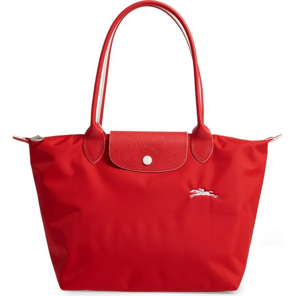 LongChamp Women's Le Pliage Club Medium Shoulder Tote Bag Vermillion Red