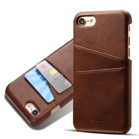 Iphone 7 Case Primium  Vintage Series  Leather Wallet With Card Slot Protective Back Cover For Iphone 7 4 7 Inch  Brown