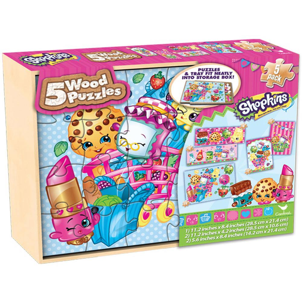 Shopkins Wood Puzzles 5-Pack,  Kids Puzzles by Cardinal