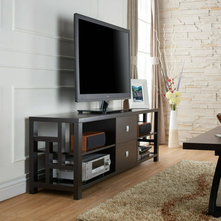 Furniture of America Bannon Contemporary Cut-Out Side Cappuccino TV Stand for up to 71″