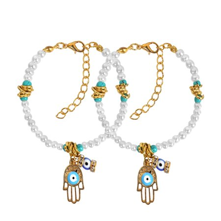 (Evil Eye Protection Love Couples Amulets Set Hamsa Hand Simulated Pearls Accent Gold-Tone Charm Bracelets)