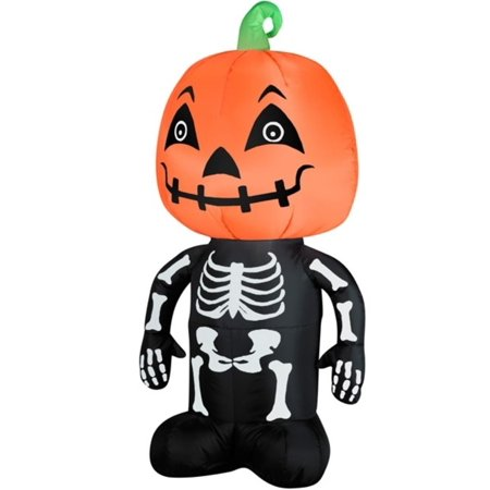 3.5' LED Inflatable Pumpkin Head on Skeleton Body Lighted Halloween Yard Art Decoration