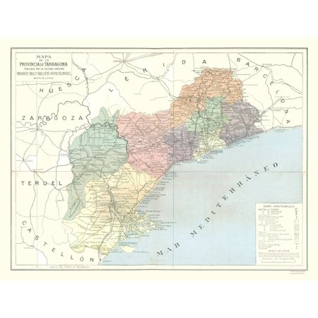International Map - Tarragona Province Spain - Pompido\'s Atlas 1913 ...