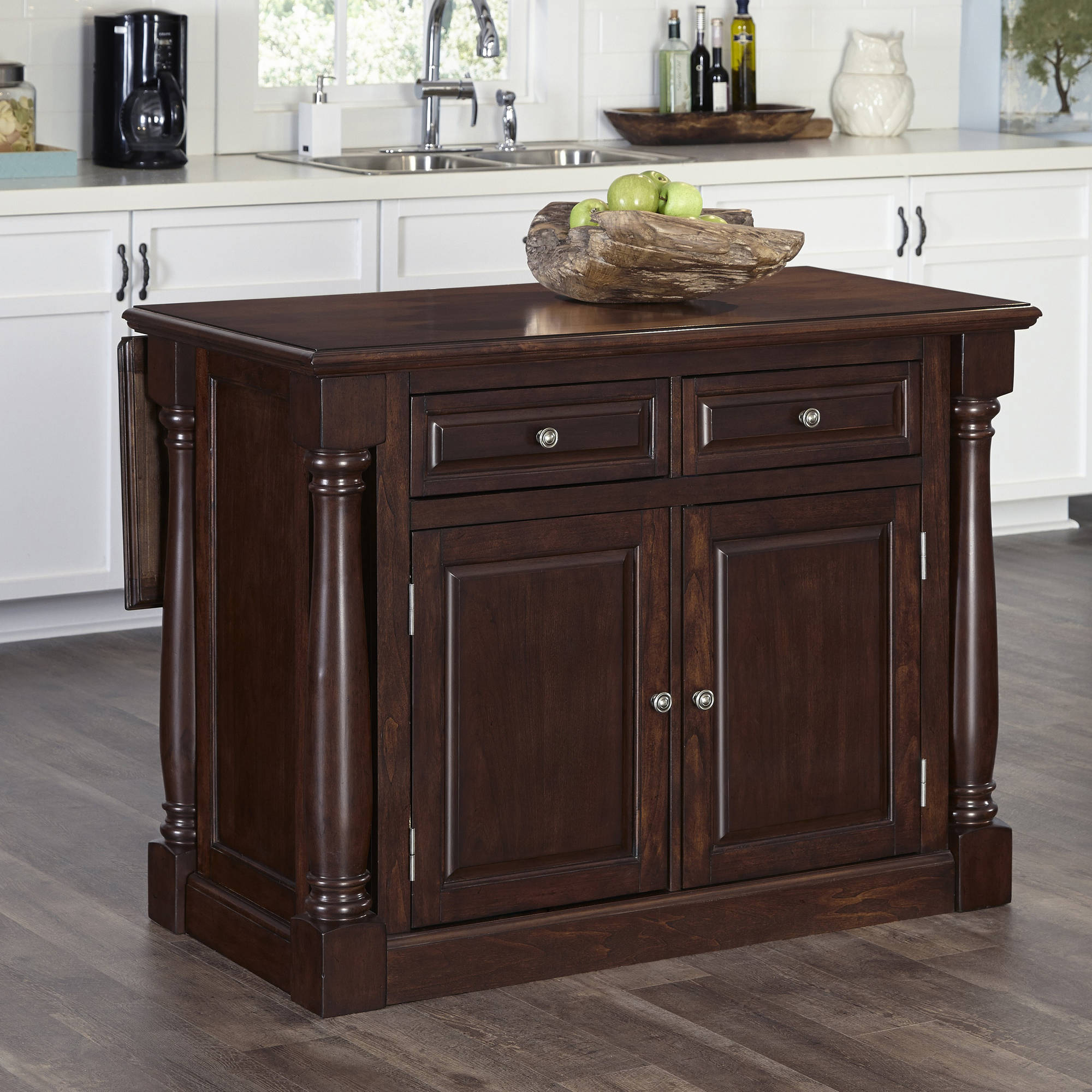 cherry kitchen islands kitchen island with wood top in cherry finish walmart 10982