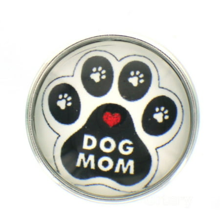 Snap Button Jewelry (Snap glass  button charms Interchangable Jewelry  Dog Mom)