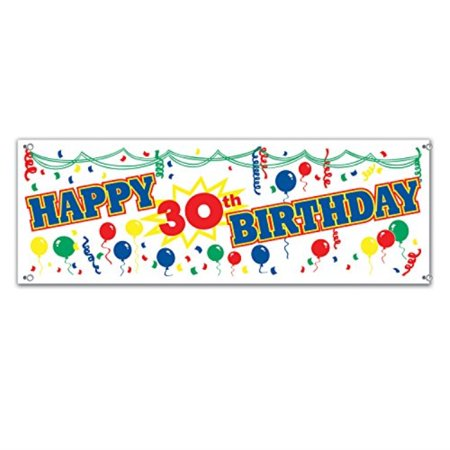 Happy Birthday 30th (Happy 30th Birthday Sign Banner Party Accessory (1 count))