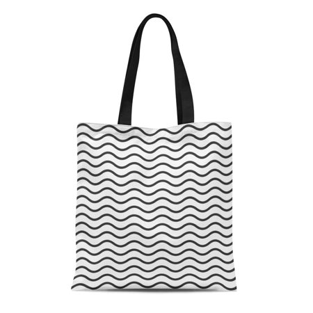 ASHLEIGH Canvas Tote Bag Abstract Pattern of Black Wavy Line Beautiful Bend Clean Durable Reusable Shopping Shoulder Grocery Bag ()