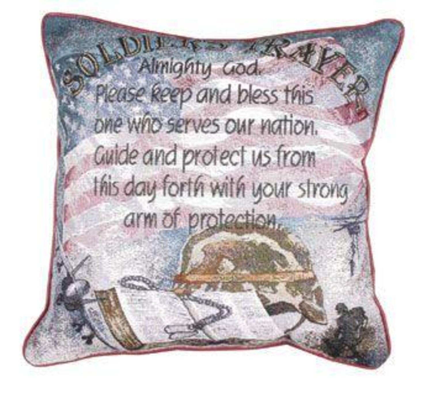 "Soldier's Prayer Religious Decorative Accent Throw Pillow 17"" x  17"""