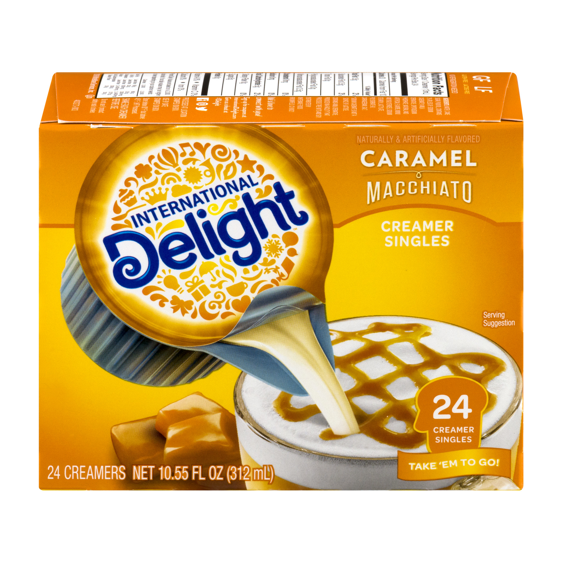 International Delight Caramel Macchiato Non-Dairy Coffee Creamer Singles 24 ct. Box