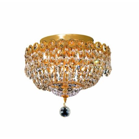 Century 4 light Gold Flush Mount Clear Elegant Cut Crystal - Gold Clear Crystal