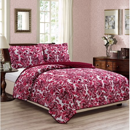 Blossom Printed 3-Piece Reversible Quilt Set - - Blossom King