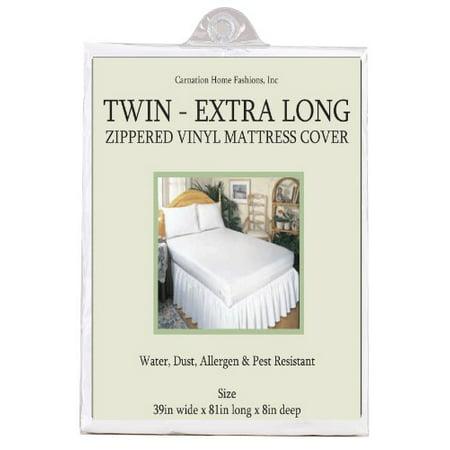 Twin extra long 3 gauge vinyl zippered mattress cover ...