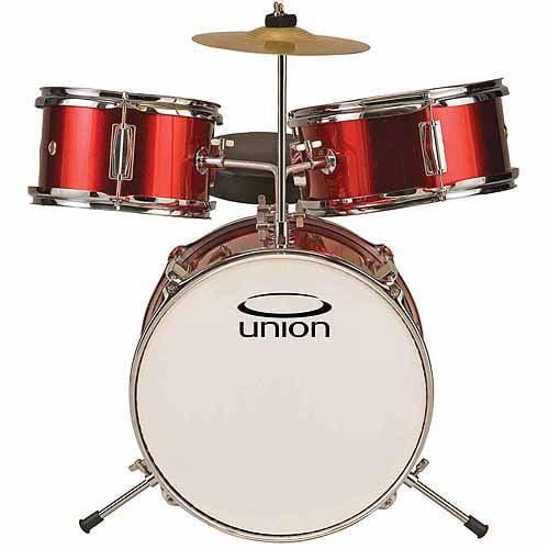 Union Ut3 3 Piece Toy Drum Set W Cymbal Throne Metallic Red