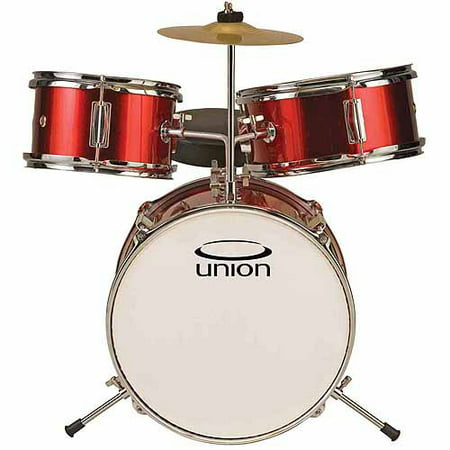 Union UT3 3-Piece Toy Drum Set w/ Cymbal & Throne, Metallic Red