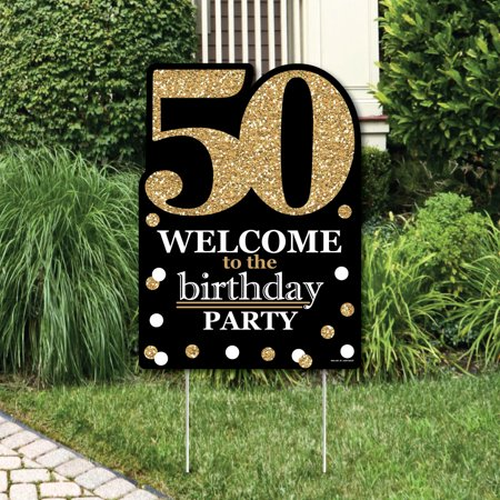 Adult 50th Birthday - Gold - Party Decorations - Birthday Party Welcome Yard - Birthday Signa