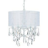 Amalfi Décor 5 Light Crystal Plug-In Chandelier with Cylinder Shade (White)   Wrought Iron Frame with Glass Crystals