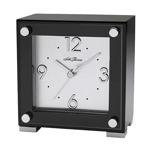 Seth Thomas Black Piano Table Clock by Seth Thomas