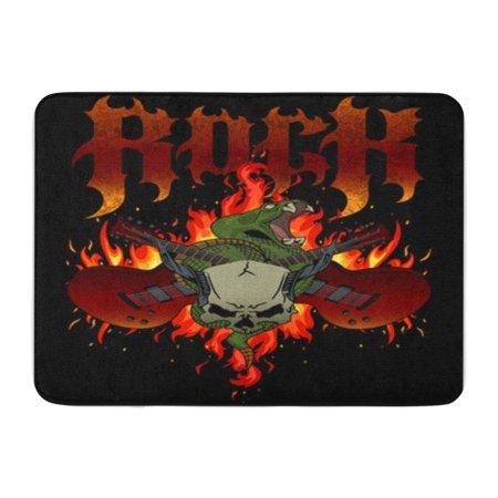 SIDONKU Rock Flames Crossed Guitars Rattle Snake and Horned Skull Doormat Floor Rug Bath Mat 30x18 inch
