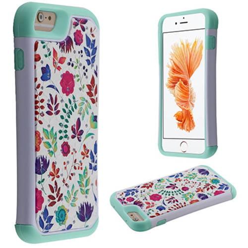 MUNDAZE Wild Flowers Diamond Hybrid Case for Apple iPhone 7 8, Mint