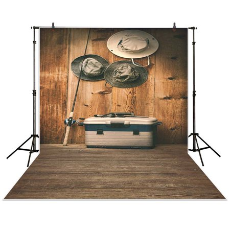 GreenDecor Polyester Fabric 5x7ft photography backdrop retro Fishing gear Hat Box Wood brown baby shower children background photo studio photocall