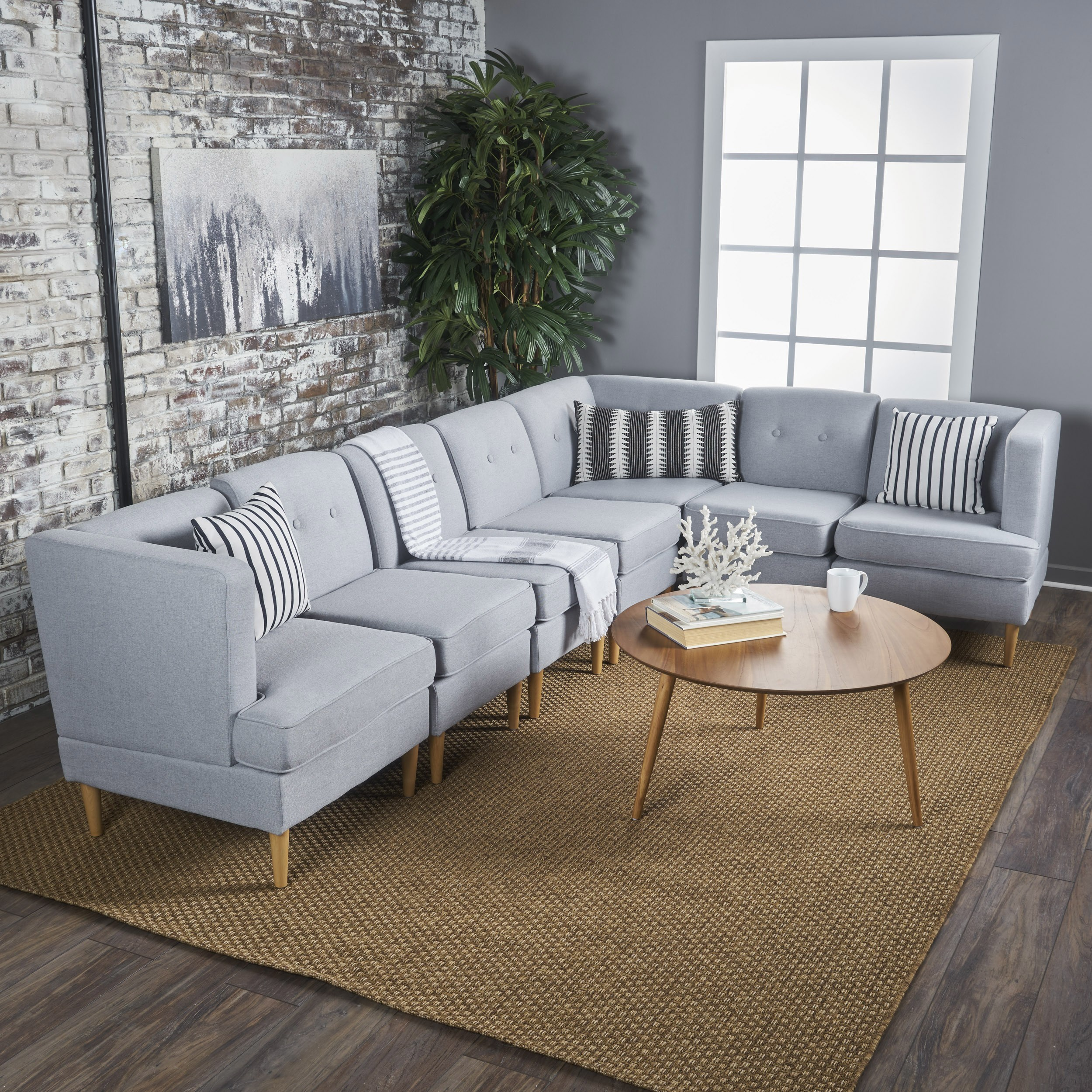 Terrific Christopher Knight Home Milton Mid Century Modern 7 Piece Fabric Sectional Sofa Set By Walmart Com Unemploymentrelief Wooden Chair Designs For Living Room Unemploymentrelieforg