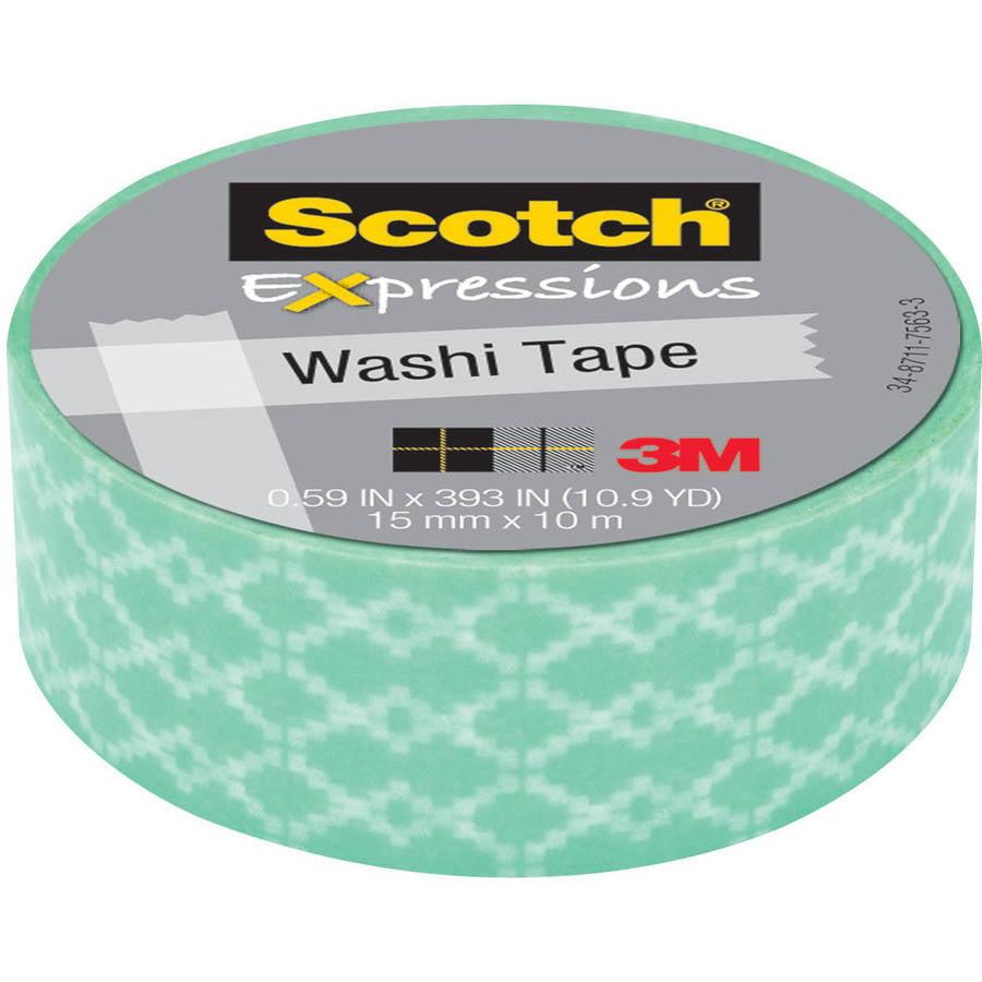 "Scotch Expressions Washi Tape, .59"" x 393"", Blue Weave"