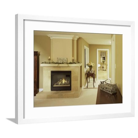 A Fire in the Fireplace and Candles on the Mantle Framed Print Wall Art](Fireplace Mantels Decorated Halloween)