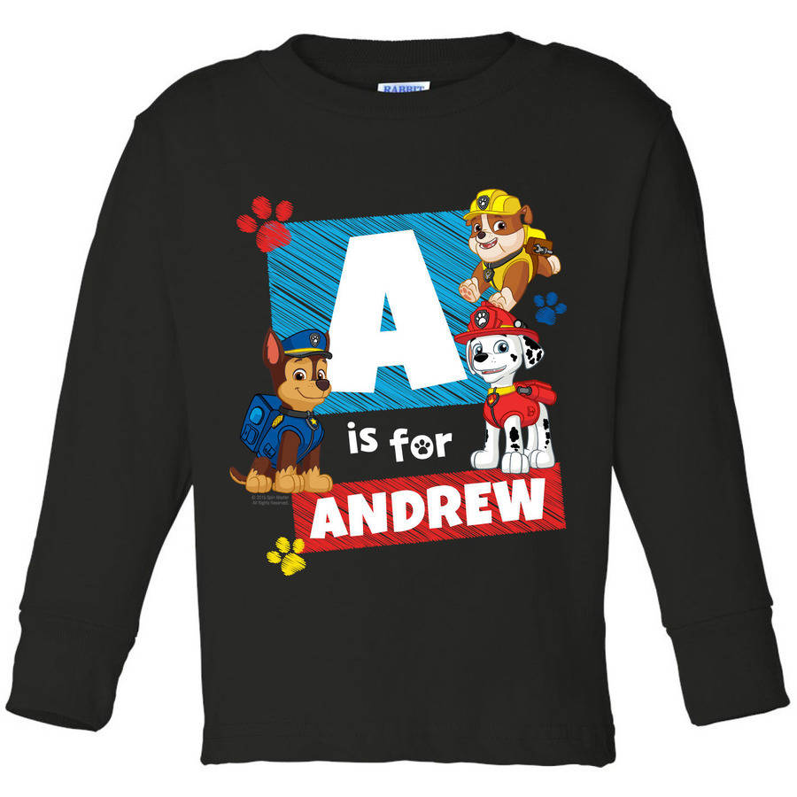Personalized Paw Patrol Chase Iniital Toddler Black Long Sleeve Tee