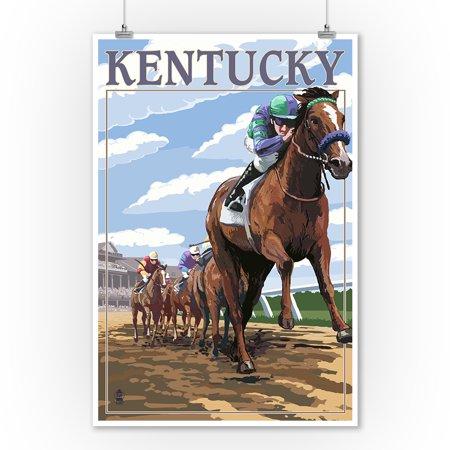 - Kentucky - Horse Racing Track Scene - Lantern Press Artwork (9x12 Art Print, Wall Decor Travel Poster)