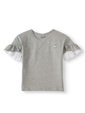 97c128137 Product Image Embroidered Ruffle Sleeve Top (Little Girls & Big Girls)